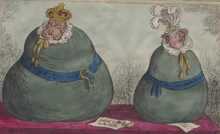 color print of a king and queen, their bodies in enormous green bags