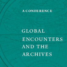 """Publicity image for the """"Global Encounters and the Arcives"""" conference with conference title in white text on a teal background with a detail of the western hemisphere from an 18th century map"""