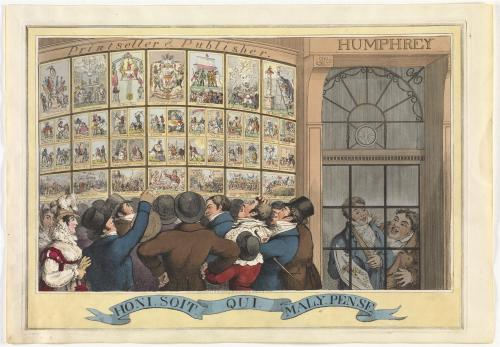 color print of a crowd looking at prints in a shop window