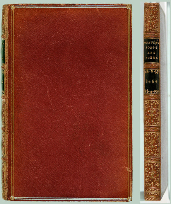 Link to catalog record-- image of red leather binding with gilt tooling and black labels on spine