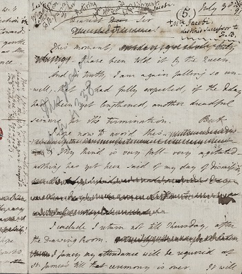 Manuscript letter from Fanny Burney at NYPL with many corrections
