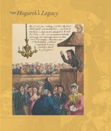 "image of the dustjacket of ""Hogarth's Legacy"" volume showing the colored print  ""The celebrated & Reverend T. Screech Me Dead attacking the devil in his strong hold"""