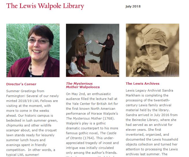 Screenshot of the first page of the LWL Summer 2018 newsletter