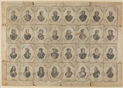 engraving of Kings and Queens of England cut into puzzle pieces