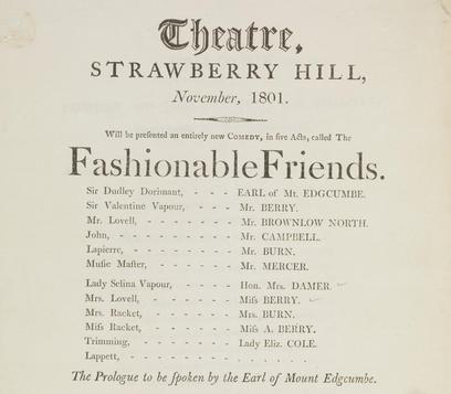 Cropped portion of letterpress playbill for Fashionable Friends