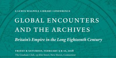 "Publicity image for the ""Global Encounters and the Arcives"" conference with conference title, dates, and location in white text on a teal background with a detail of the western hemisphere from an 18th century map"