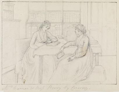 Pencil drawing of Mary Berry and Anne Damer seated across a table from each other