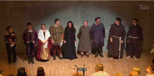 Cast curtain call for Mysterious Mother at Yale