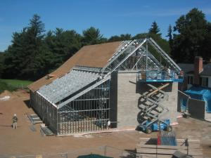 color photo of the 2007 addition in process of construction showing steel frame and start of sheathing