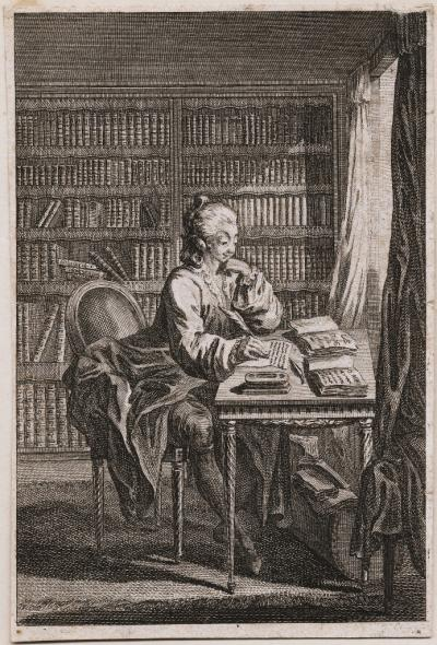 "Image of etching of ""D'Eon in his study"" by Jacques Le Roy Depicts a possibly female figure wearing male attire writing a letter at a table before a window in a study or library. Books fill shelves in the rear while two others lie open on the table, one title Le Code de Cithere."