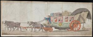"Image of a colored etching ""A Flemish diligence"" by James K. Ansell at Brussells, March 1794. A coach filled with passengers is driven by a coachman (smoking a pipe) and pulled by two teams of horses. The roof of the carriage is loaded with bags and a cage filled with poultry; the one bag is labeled 'Brussels'. Another cage of birds swings off the bottom of the carriage in the back, the top of which is covered in a tarp. The driver whips the lead team. A coat of arms decorates the door to the carriage."