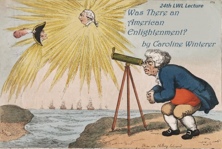 Edited detail of caricature print showing John Bull looking through a telescope at the sun which has the head of George III in the middle.