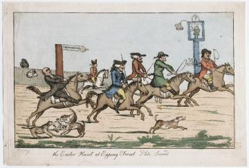 "Image of colored etching of ""The Easter hunt at Epping Forest. Plate second"" by Henry William Bunbury,showing a caricature of a group of men on horseback galloping toward the right of the frame. One man's wig flies off as his horse rears."