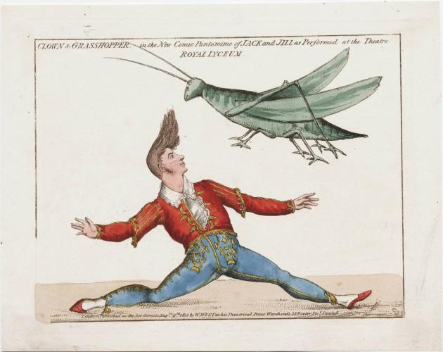 Man dancing with giant grasshopper