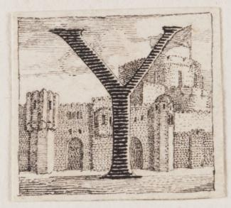 "Image of a drawing by Richard Bentley of an Initial letter 'Y' with a castle in the background from ""Ode on a Distant Prospect of Eton College"""