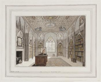 The Library at Strawberry-Hill [art original] by John Carter, Twickenham, 1788, in Walpole's extra-illustrated copy of his Description of the Villa, 1784. Shows a view of a long library with books in cases on the sides and a window at the end of the room
