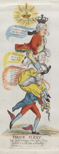 "Image is detail of the colored print ""French flight, or, The grand monarque and the rights of kings supported in a sublime and beautiful manner"" by William Dent. A political satire with Burke depicted as Mercury carrying on his shoulders Marie Antoinette who in turn carries Louis XVI."