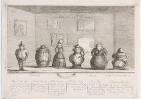 Still life a l'hollandois, an uncolored etching showing six figures in an interior. Each figure has a body shaped like a ceramic vessel. There is text below the image